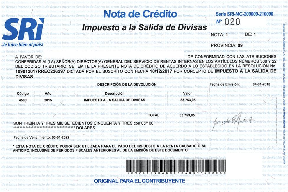 Ejemplo nota de crédito cartular SRI